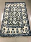 Vintage Hand Knotted Cotton Rug 6x4 Feet