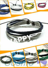 Leather Stainless Steel Cuff Fashion Bracelets