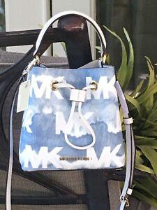 MICHAEL KORS SURI MINI SMALL BUCKET CROSSBODY BAG SHOULDER TIE DYE GRAFITTI BLUE