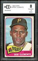 1965 Topps #160 Roberto Clemente Card BGS BCCG 8 Excellent+