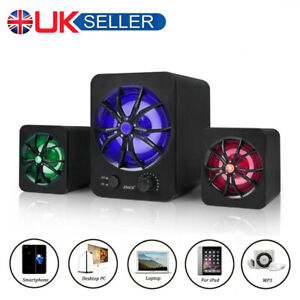 SADA USB Wired Computer Speakers Subwoofer LED Bass Stereo Player For Laptop PC