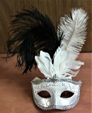 Nwt Silver Glitter Eye Mask, Masquerade, Halloween, Blk & White Ostrich Feathers
