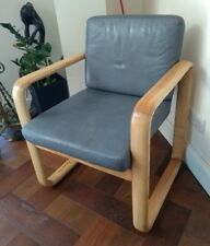 Retro Vintage 70s Grey Leather Lounge Chair. Hombre by B Vogtherr - Rosenthal