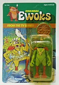 1985 Star Wars EWOKS KING GORNEESH TV Series figure AMERICAN Mint UNPUNCHED Card