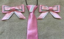childs equestrian showing set - Show Tie And Bows Pink & Silver - Lead Rein