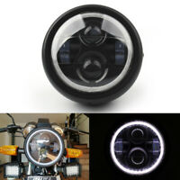 """6 1/2""""Motor-cycle Universal LED Headlight White Halo Ring For Cafe Racer Chopper"""