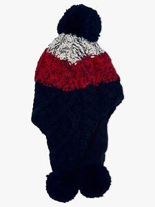 John Lewis Children's Chunky Knit Stripe Trapper Hat Large New Damaged Item!!!