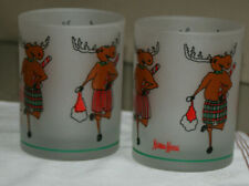 6 Neiman Marcus Vintage Christmas Moose Frosted Glasses 12 ounce highball