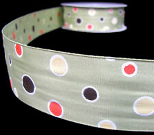 "5 Yds SALE Eye Candy Polka Dot Wired Ribbon 1 1/2""W"