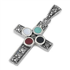 Cross with Marcasite Pendant Sterling Silver 925 Vintage Style Christian Jewelry