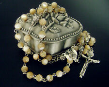 Mother-of-Pearl Gift Rosary Italy Crucifix Cross SILVER Rose beads Necklace Box