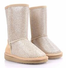 Champagne nn Slip On Blink Kids Shoe Girls Youth Faux Fur Interior Boots Size 11