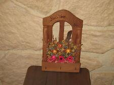 Porte clés en bois déco fleurs séchées