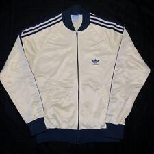 Vintage Adidas ATP Zip Up Tracksuit Track Jacket Gold Cream Navy Blue Medium 80s