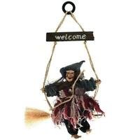 Lifelike Hanging Witch with Broom Decor Ornament Door Decoration I5D3