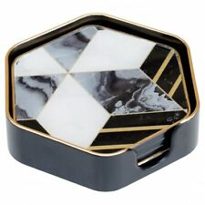 Hexagonal Black Edge Coaster With Diamond Design (set of 4)