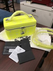 NEW MCM Visetos One Size Rockstar Clutch Vanity Case Crossbody Bag, Neon Yellow
