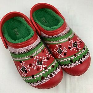 Crocs Fair Isle Print Lined Clogs Red Green Sweater Shoes Men's 8 Women's 10