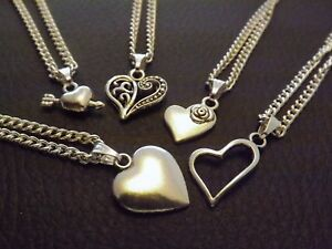 10 Silver Plated Necklaces with Mixed Heart Pendants Wholesale Jewellery