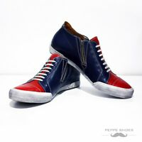 Modello Carpi - Handmade Colorful Italian Leather Shoes Casual Trainers Blue Red