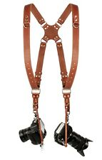 Coiro Leather Dual Harness Shoulder Strap Two Camera Adjustable Size Light Brown