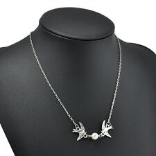 Fashion Women Jewelry Pendant Pearl Choker Peace Dove Necklace Chain Silver Gift