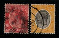 Kenya Uganda Tanganyika KUT 1922 1927 King George V 10c, 15c  Used