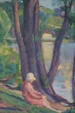 Impressionist Painting of Woman by Lakeside by French-American, William Malherbe