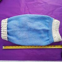 "Handknitted Blue & Cream/Brown fleck roll neck dog jumper Approx 18"" /46 cm long"