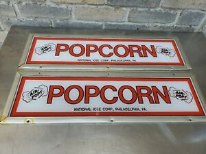 """2 Rare Vintage 1960's National Icee """"AIR-POPT"""" Popcorn Concession Signs Reclaim"""