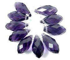 20x9mm Amethyst Glass Quart Faceted Teardrop Beads (10)
