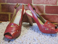 KENNETH COLE REACTION RED LEATHER RELATION-CHIP PEEP TOE SLINGBACKS SZ 8.5M  967