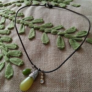 Silpada Leather Necklace w/ Yellow & Green Stones