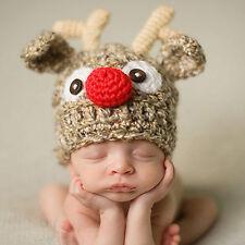 Newborn Baby Handmade Hat Crochet Knitted Photo Prop Christmas Reindeer Costume