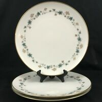 "Set of 3 VTG Dinner Plates 10 1/2"" Noritake Elmdale Blue Gold Leaves 6219 Japan"