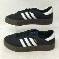 Adidas Sambarose Shoes Athletic Low Top Sneakers Lace Up Leather Black Mens 6.5