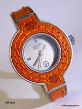 Lucky Brand Orange & Silver Tone Link  Leather Watch NEW Peace Sign