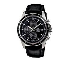 EFR-526L-1A Black Casio Men Watches Geunine Leather Band Chronograph Date Analog