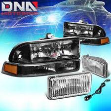 BLACK HEADLIGHT+AMBER TURN SIGNAL+CHROME FOG LIGHT+SWITCH FOR 98-04 CHEVY S10