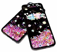 For Samsung Galaxy S8+ PLUS - ROSE GOLD GLITTER BLACK SILICONE WATER LIQUID CASE