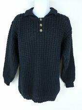 Patrick Malin Donegal Irish Sweater Black Thick Aran Rib Collared Pullover Men L
