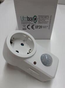 Lifcobuy Zwischenstecker mit Bewegungsmelder 120° 9m Reichweite 230V/1200W weiß
