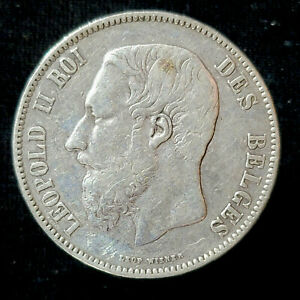 Belgium Silver 5 Francs 1869 crown-sized Leopold II
