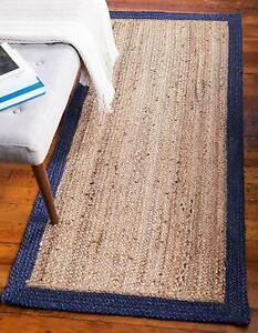 Rug Runner 100% Natural Jute Handmade Rug Reversible Modern Rustic Look Area Rug