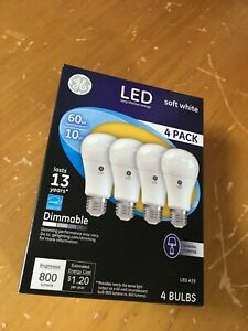 4-Pack GE LED A19 60W Light Bulbs uses 10W Soft White Dimmable Energy Efficient