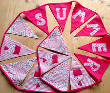 Girls Bunting PERSONALISED Handmade Pink Heart Cupcake Baby Birthday Present