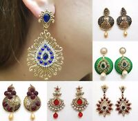 Indian Earrings Jewellery Gold Plated Colour Jhumka Jhumki Diamante Dangle