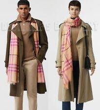 BURBERRY wool & silk GIANT CHECK Gauze PALE APRICOT scarf shawl NWT Authent $390