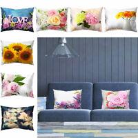 UK_ Sunflower Rose Flower Pillow Case Cushion Cover Living Room Couch Sofa Decor