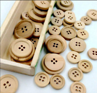 50Pcs Mixed Wooden Buttons Natural Color Round 4 Holes Sewing Scrapbooking